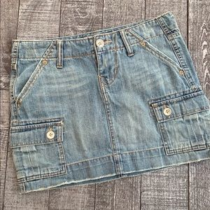 Old Navy Ultra Low Waist Distressed Jean Skirt
